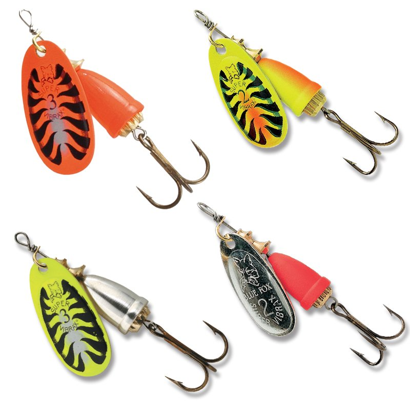 Blue fox vibrax fluorescent spinner lures bobco fishing for Blue fox fishing lures