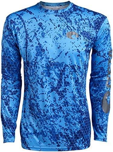 Costa Technical Hex Long Sleeve Camo Blue Shirt