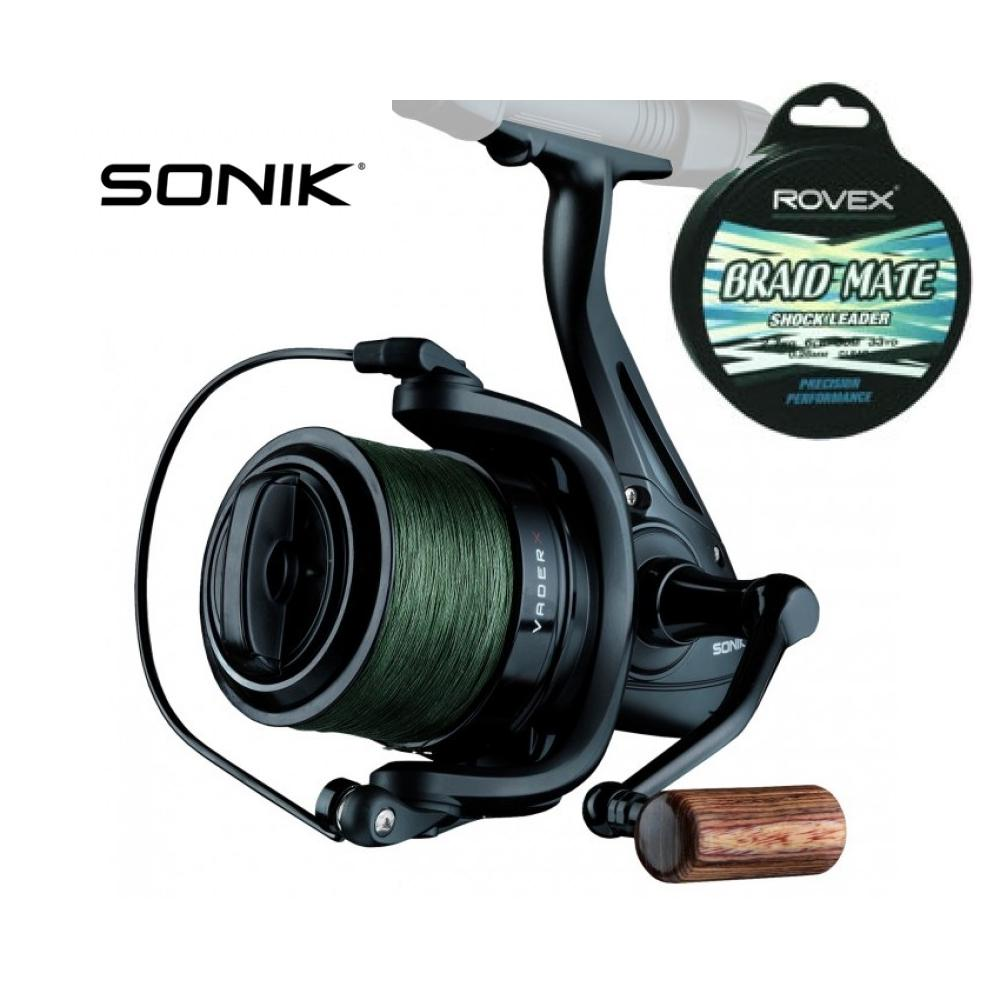 Sonik Vader X 8000 Spod Reel + Loaded with 30lb Braid + Shockleader