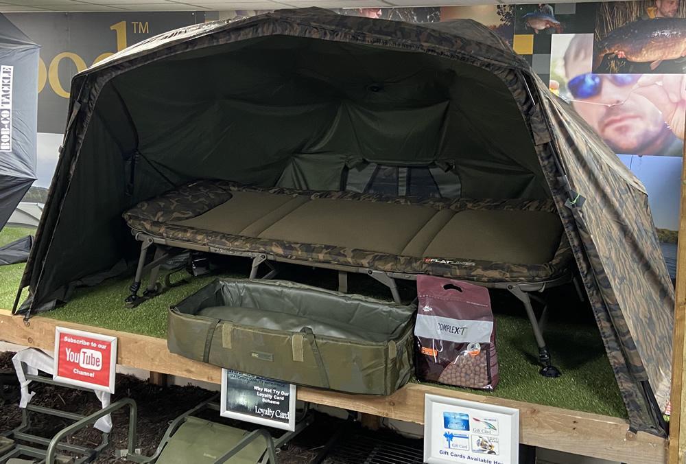 Fox Flatliner 8 Leg Bedchair PLUS Skills Camo Brolly Dome PLUS Sonik Cot Mat PLUS Bait