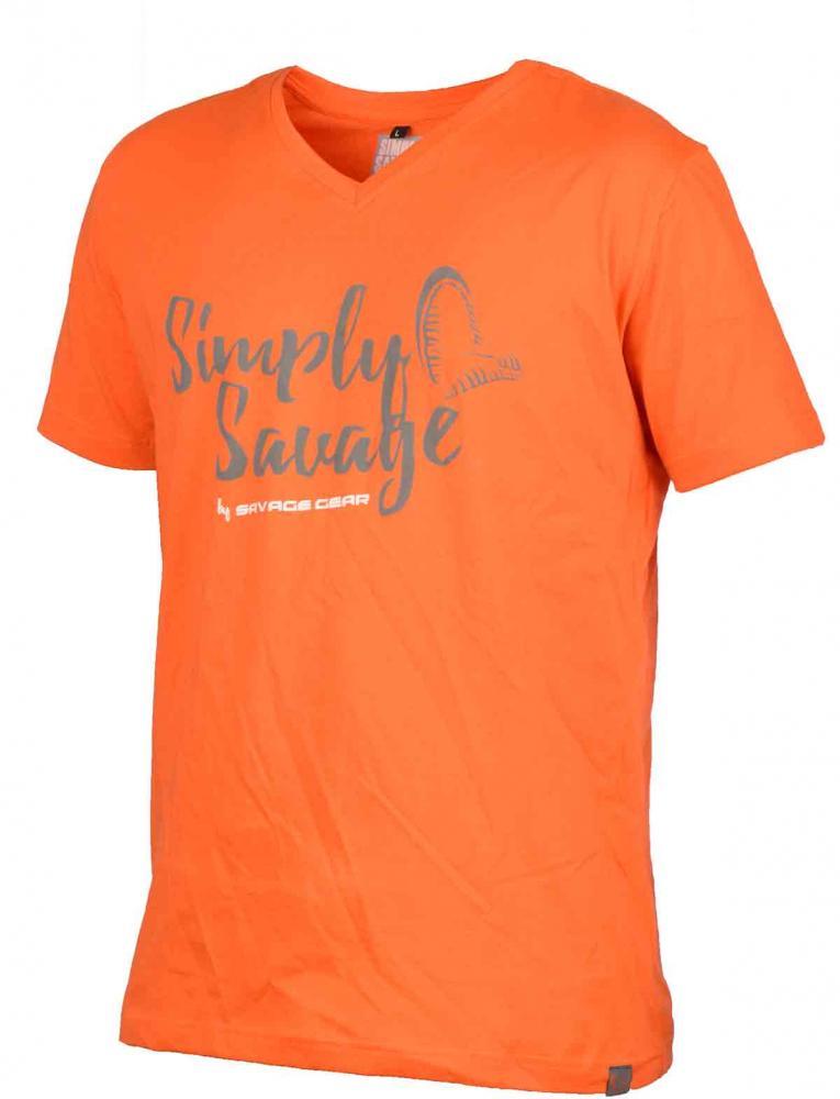 Savage Gear Simply Savage V Neck Orange T-Shirt